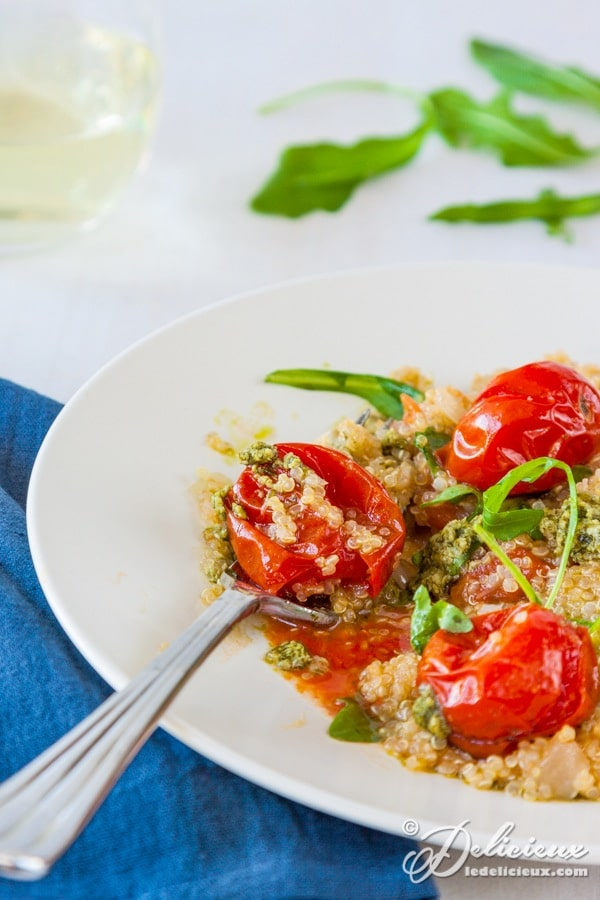 Roasted Cherry Tomato Quinotto recipe - forget rice based risottos quinoa risotto is a delicious and healthy substitute | deliciouseveryday.com
