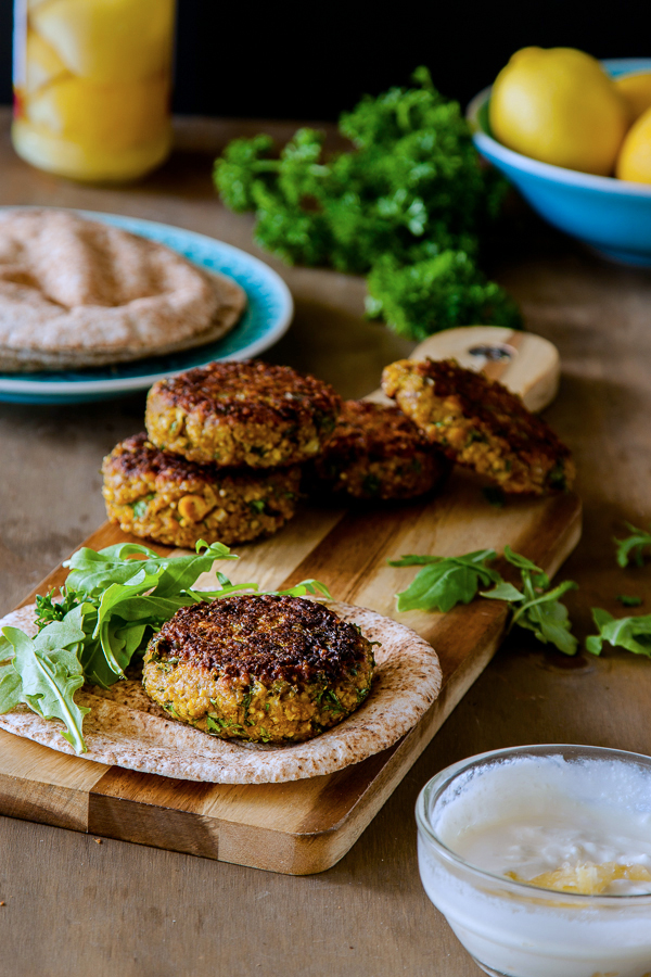 Spiced millet and chickpea burgers with preserved lemon yoghurt recipe | DeliciousEveryday.com #vegetarian