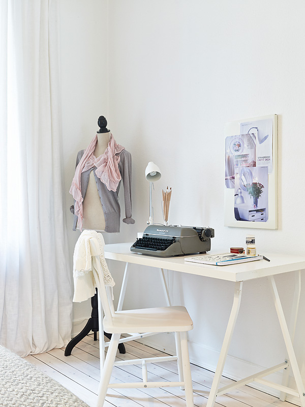 muebles ikea Decoraci?n femenina rom?ntica en blanco gris y rosa