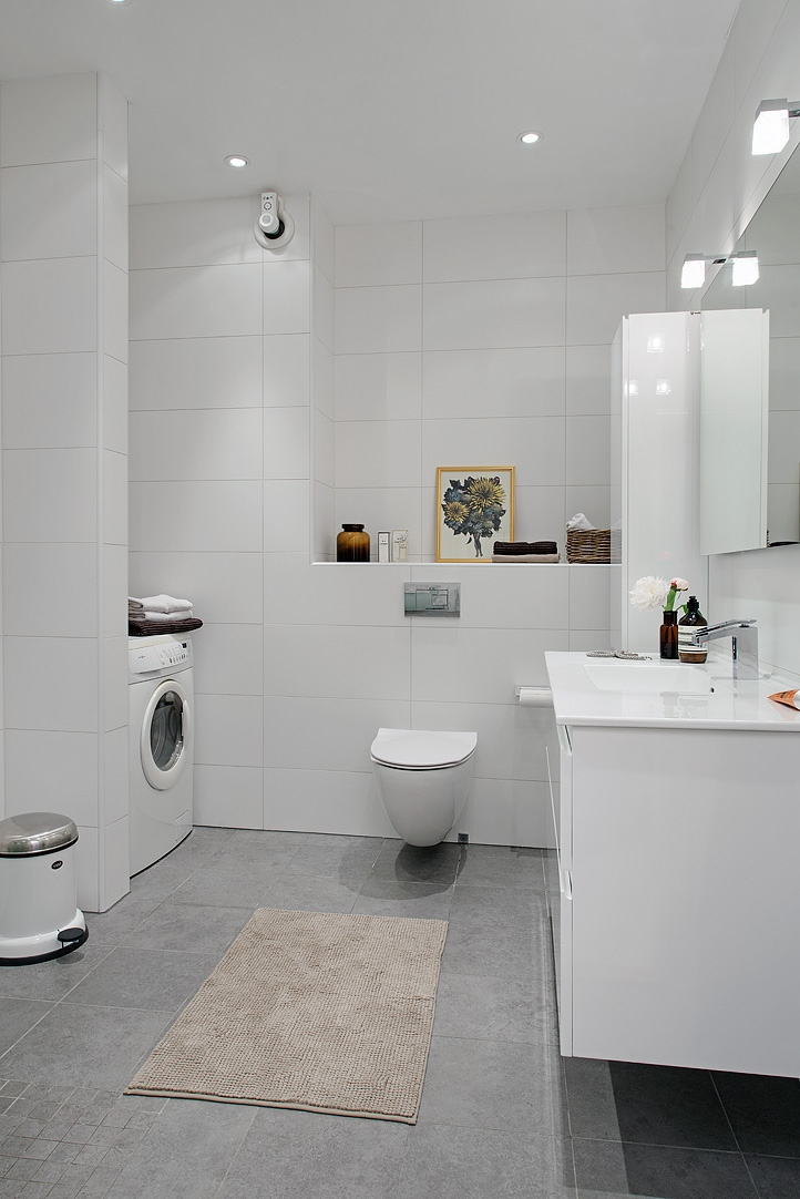 Gris y blanco siempre un acierto blog decoraci n estilo n rdico delikatissen - Simple and small bathroom with white interior design ideas ...
