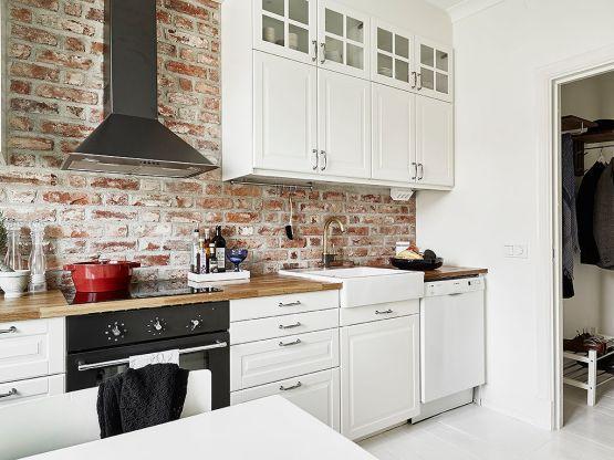 pared interior de ladrillo visto estilo nórdico escandinavo decoración estilo nórdico decoración en blanco decoración cocinas cocinas suecas cocinas pequeñas cocinas modernas blancas blog decoracion interiores