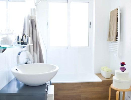 antes y despues, cambio de look, cuarto de baño, casa três, estilo nordico, pintura azulejos, leroy merlin, reciclar muebles, lavabo sobreencimera