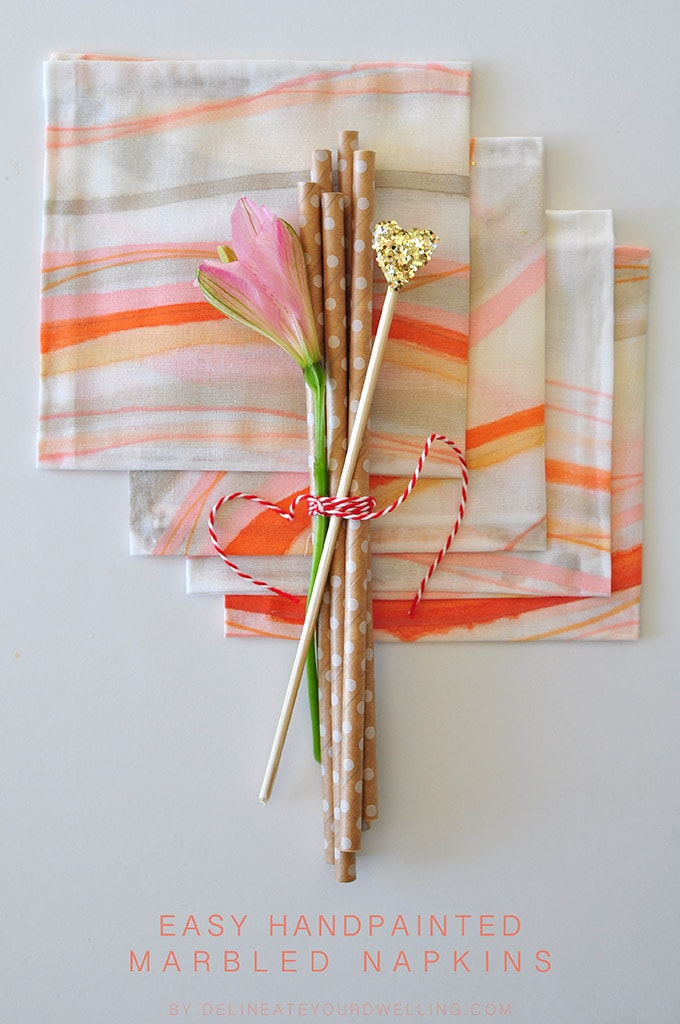 Handpainted Marbled Napkins