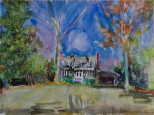 Watercolor painting of Clark House Residential Inn in Clarksdale. Painting by John and Emma Lou Ruskey