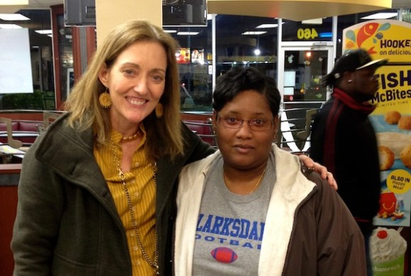 "Magical Madge and Clarksdale Samaritan Jessica ""Weechee"" Harper in McDonalds in Clarksdale."