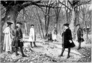 "Hamilton fighting his fatal duel with Vice President Aaron Burr (the depiction is inaccurate: only the two ""seconds"" actually witnessed the duel)"