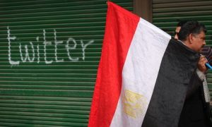 Egypt Flag Man Near Twitter Graffiti