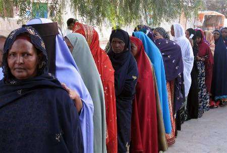 Somalia Somaliland Voter Line w Traditional Dress