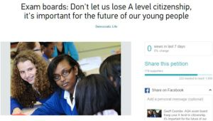 Exam boards: Don't let us lose A level citizenship, it is important for the future of our young people.