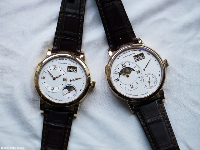 The new Grande Lange 1 Moonphase on the right and the now discontinued Lange 1 Moonphase.