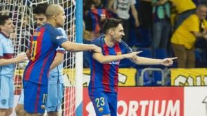 Diego Quintela celebra un gol con el F.C. Barcelona Lassa