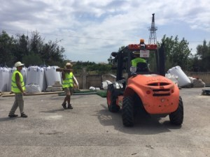 Operaris durant les obres de renovació de gespa del camp de futbol d'Algaida.