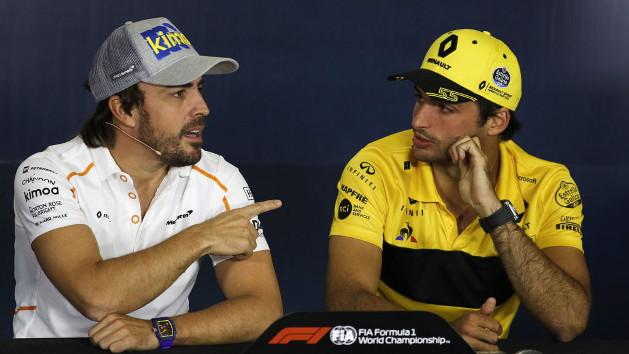 Carlos Sainz y Fernando Alonso en la rueda de prensa previa al GP de España de F1. EFE