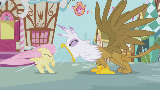 Fluttershy and Gilda S01E05