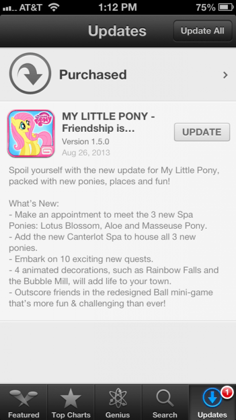 List of Updates to Gameloft MLP Game