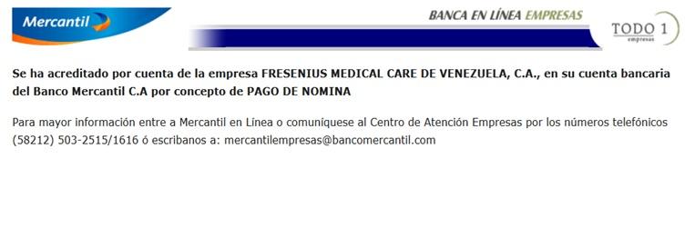interfaz transferencia fresenius medical care