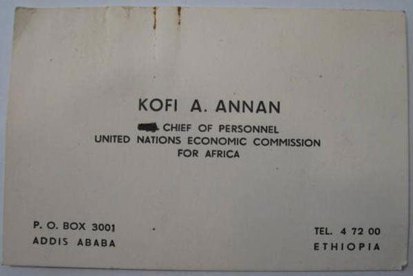 13. Kofi Annan cartão Imperdível 20 Cartões de visita de pessoas famosas