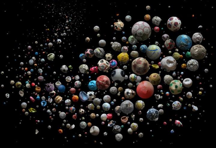 plastic pollution art footballs