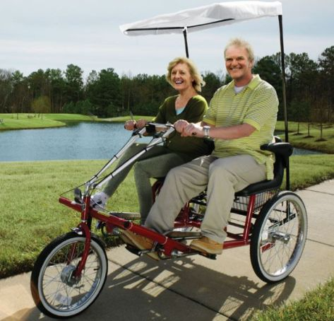 dual seat adult tricycle