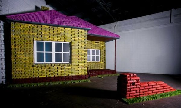 Eggo Home Made Out of Recycled Egg Cartons