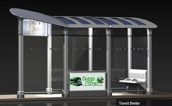 Solar-powered Transit  bus stop