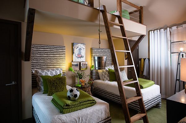 amusing-boys-bedroom-with-fancy-ladder-for-the-upper-play-area