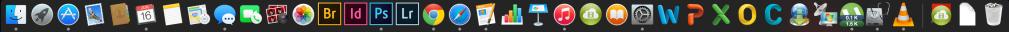Os pontinhos embaixo dos ícones indicam quais programas estão abertos