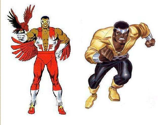 Personagens da esquerda para direita: Falcão e Luke Cage.