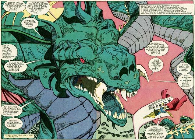 A Essência do Medo (Marvel): Thor lutando com a Serpente.