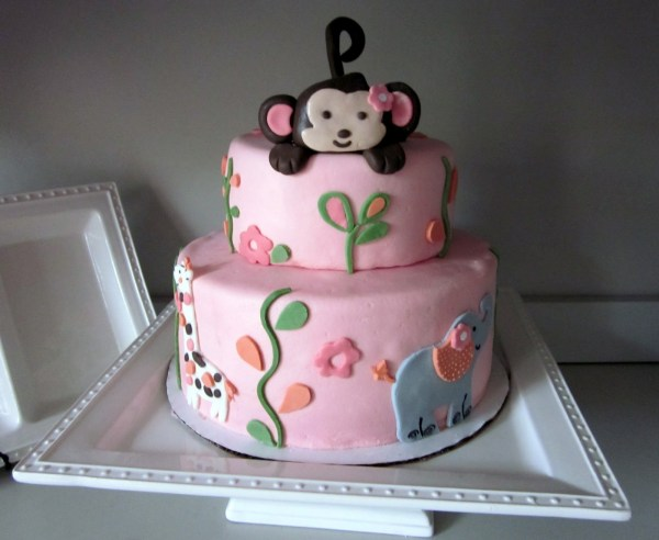 Monkey theme cakes for baby showers design dazzle - Baby shower monkey theme cakes ...