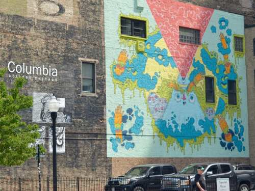 Murals on the walls near Columbia College in Chicago