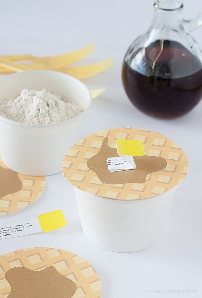 "DIY Waffle Mix | Includes link to the printable ""Waffle Lids"" so you can gift them in style!"