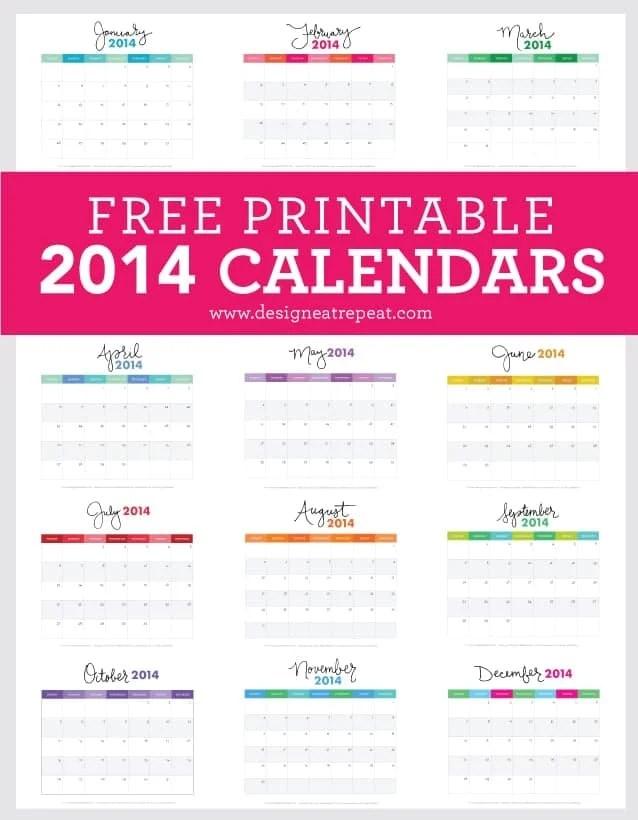 Free Printable 2014 Calendars   Download at Design Eat Repeat