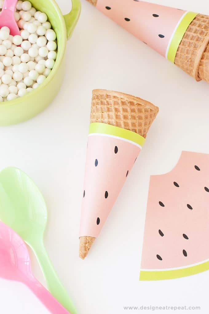 Free Printable Watermelon Icecream Cone Wrappers - Perfect addition to any summer or fruit-themed parties!