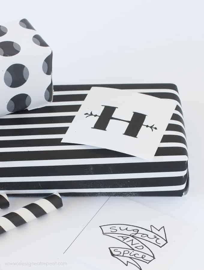 Printable black white for halloween gift wrap