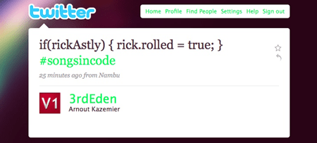 rickrolled twitter
