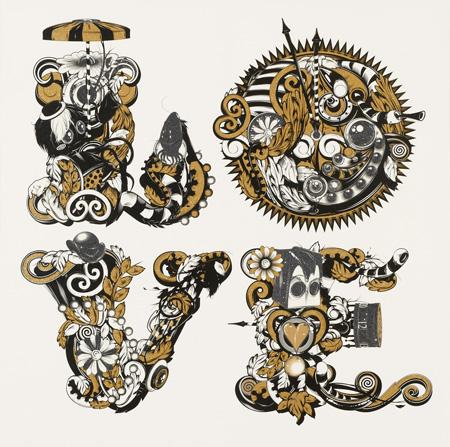 PHUNKL.O.V.E-Golden-120-x-120cm-Silkscreen-on-Canvas-2012