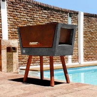 Concrete Batea Outdoor Grill by MateriaLitica