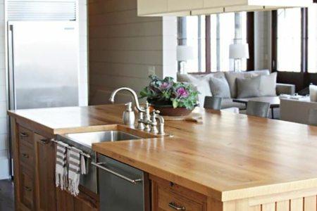 13 ilot central de cuisine en lattes de bois
