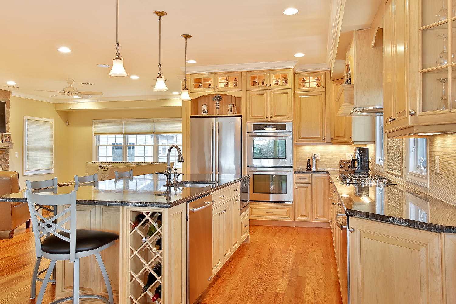 Natural Stained Wood Kitchen light wood kitchen cabinets Fabulous Light Wood Cabinets Open Kitchen Floor Plan