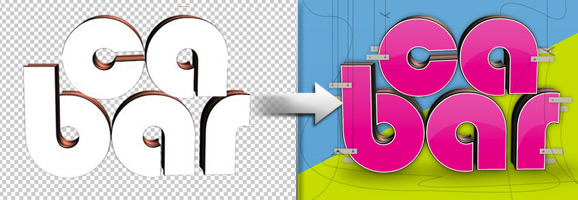 Glossy 3D Text Effect