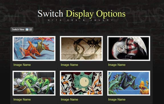 Switch Display Options, Jquery Resources