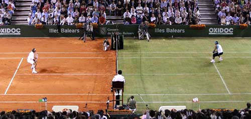 federer nadal tennis court grass clay