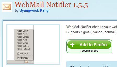 webmail notifier for firefox