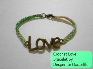 crochet love bracelet