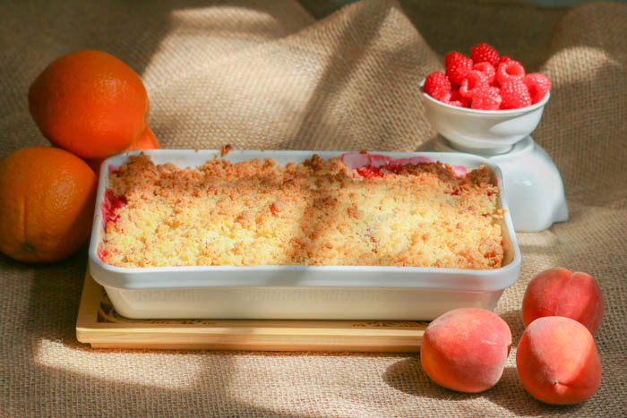 Desserts Required's Berry Peach Citrus Crisp is a recipe you have to make. It brings out the best of these tasty fruits and Panko crumbs give the topping a delicious crunch.