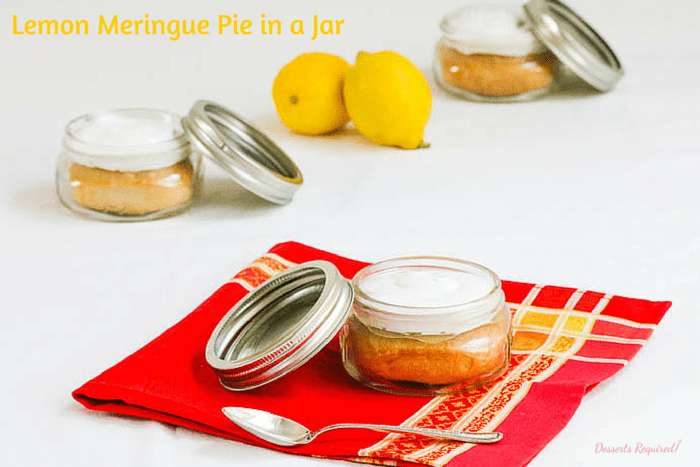 Desserts Required's Lemon Meringue Pie in a Jar is a yummy twist on a classic recipe. Clever and cute and sure to be a hit for dessert at your next party. #SundaySupper