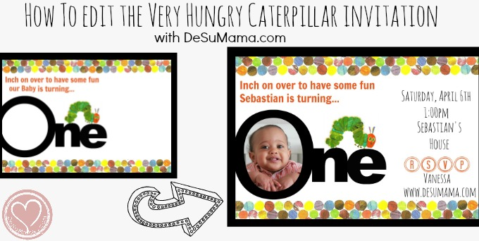 Very Hungry Caterpillar Party Invitation Editing Tutorial