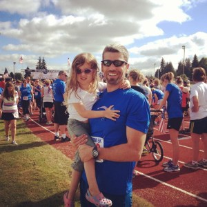 Father & daughter at the finish line of my first 5K race (Freedom 5K in Molalla on 7/4/13)