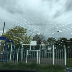 Smashed Peugeot Windscreen